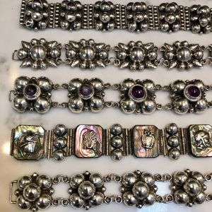VTG MEXICAN 925 Silver Bead Bracelets Circa 1940s!